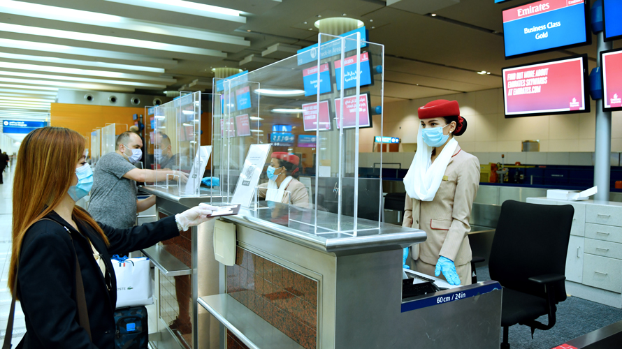 Antimicrobial screens at airport check-in