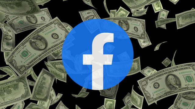 Money and the Facebook logo