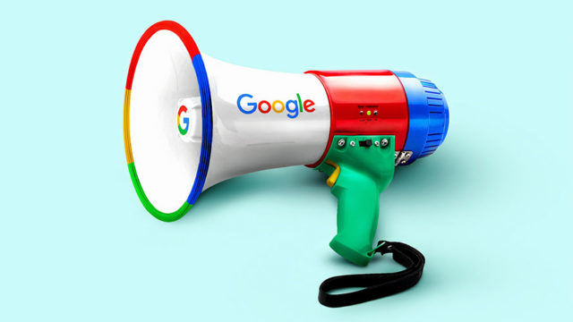 a colorful megaphone that says google