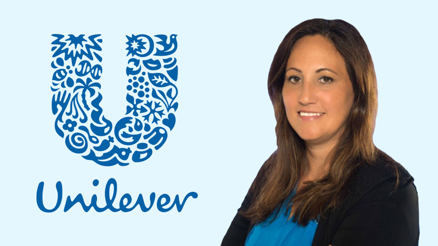 Photo of the Unilever logo and Jennifer Gardner
