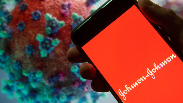 johnson & johnson logo on a phone screen