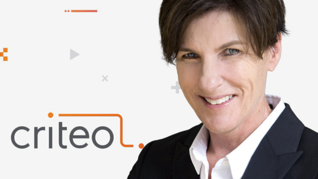 criteo logo on the left and a woman smiling on the right