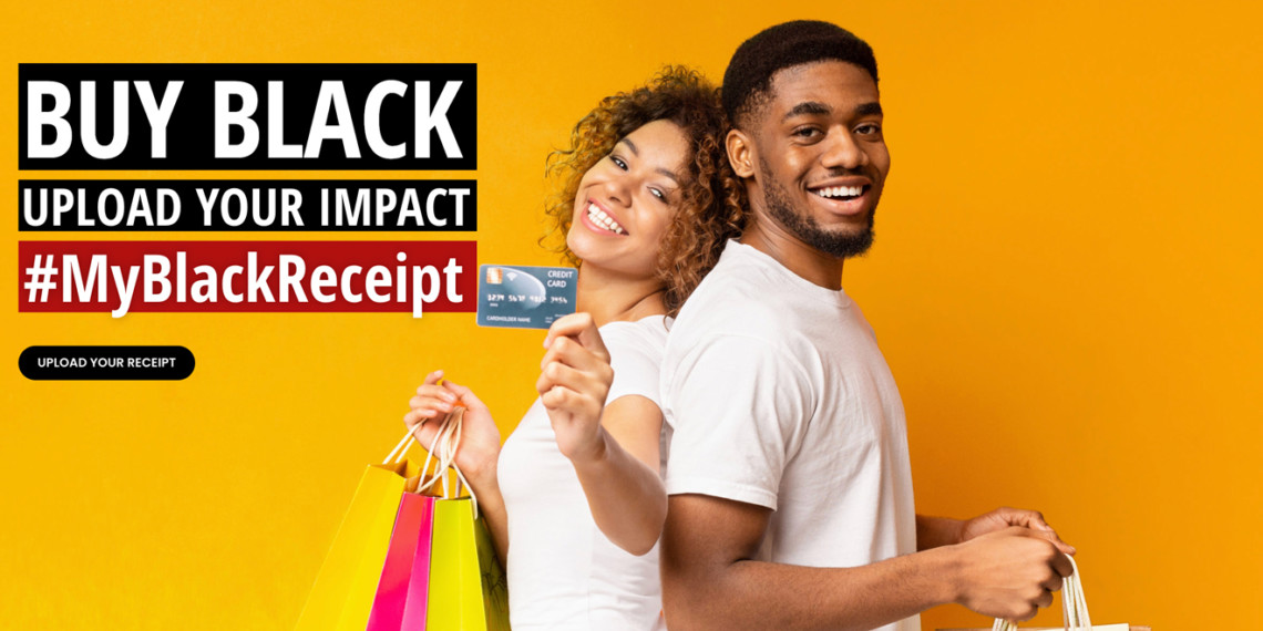 woman and man holding shopping bags and a credit card