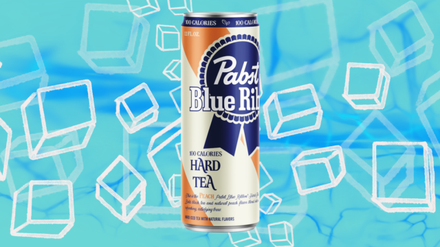 a can of PBR hard tea with ice cubes in the background