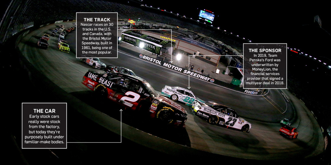 nascar racing on a track featuring a number 2 car with boxes of info