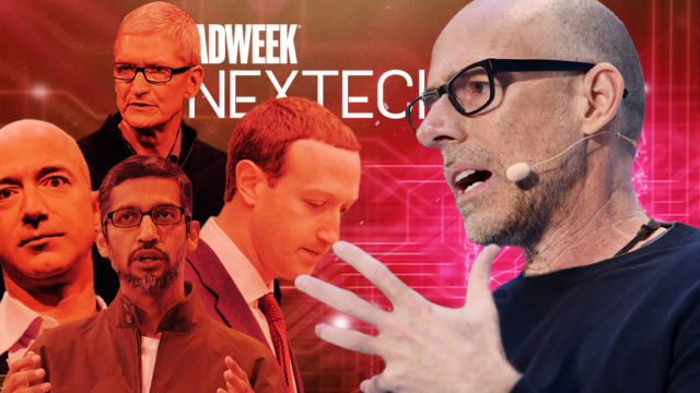 Professor Scott Galloway speaking with Big Tech CEOs in background and Adweek NexTech logo