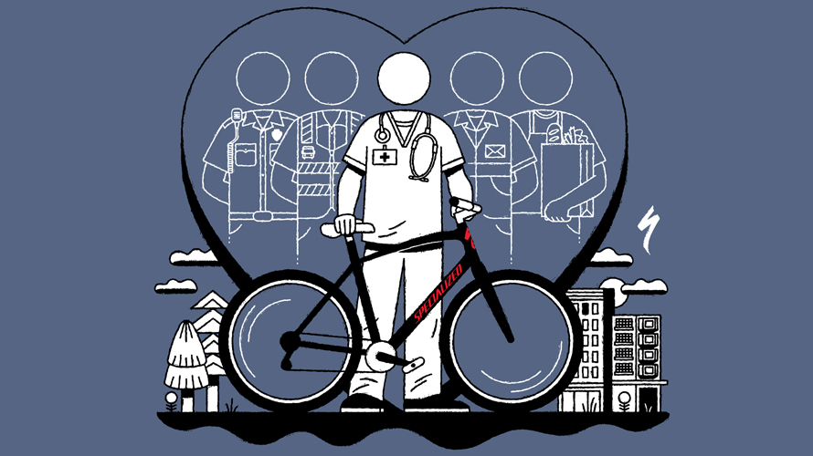 illustration of a doctor holding a bike with a heart shape behind them
