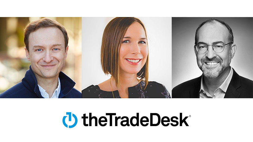 two men's and a woman's headshot above the trade desk logo