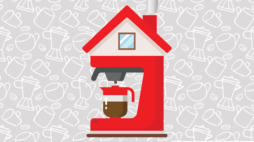a red coffeemaker on a gray background