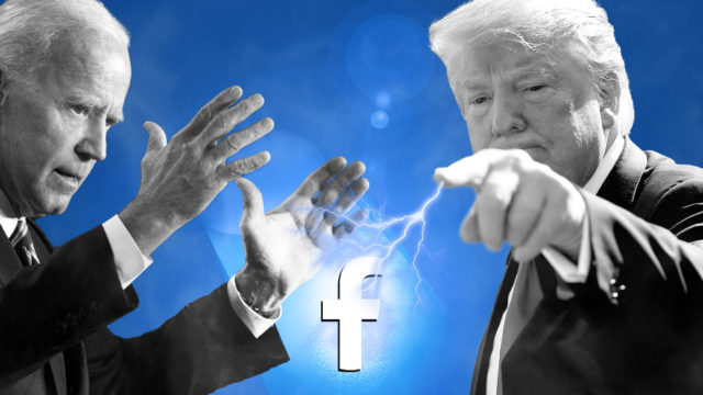 joe biden and donald trump with a facebook logo in the middle and lightning coming out of trump's finger toward the symbol while biden raises his hands