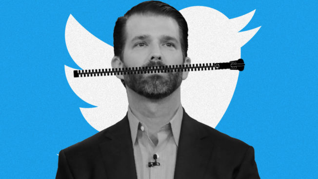 donald trump jr with a zipper across his mouth