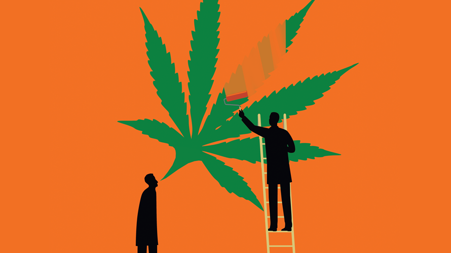 Illustration of person painting a cannabis leaf