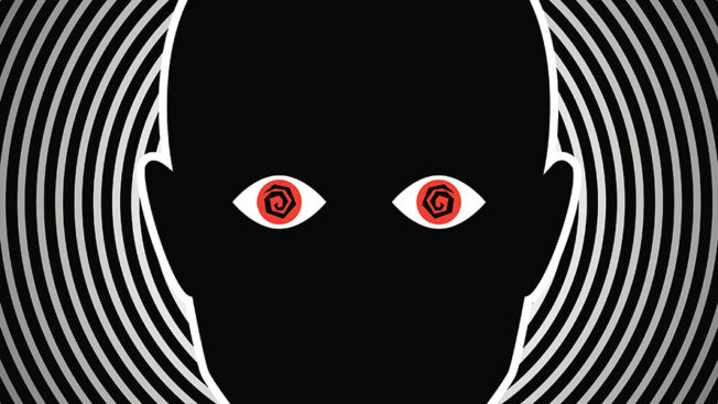 Illustration of a black and white background with a head and two red eyes