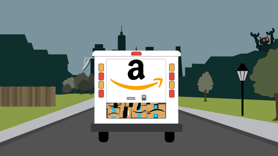 a delivery truck with amazon's logo on it