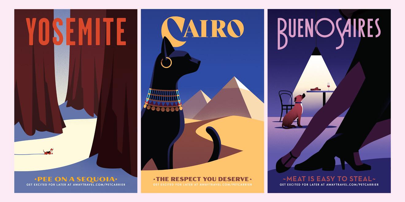 three posters for yosemite with a tree, cairo with an egyptian cat, and buenos aires with a dog trying to eat a steak