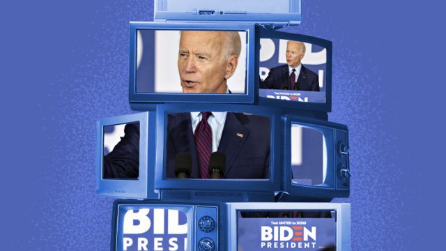 Joe Biden on stack of TV screens