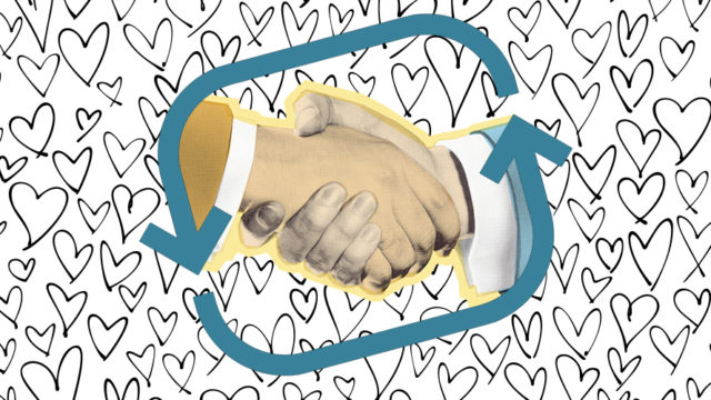 two hands shaking in a blue circle on a background of gray hearts