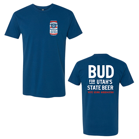 two blue t-shirts: front is a budweiser can on the top right and the back says bud for utah's state beer vote using #Bud4Utah