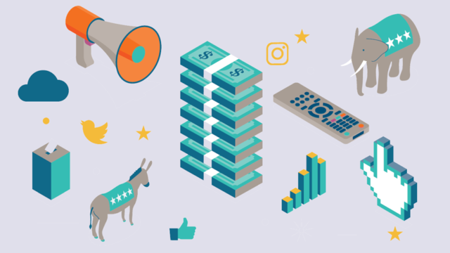 stacks of money, graphs, an elephant, a donkey, various icons
