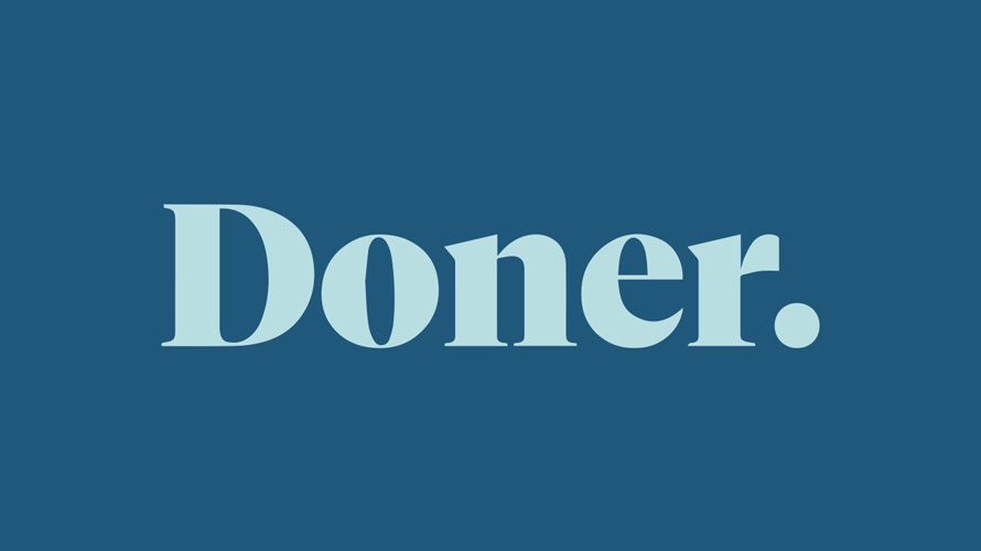 blue background with light blue font that says doner.