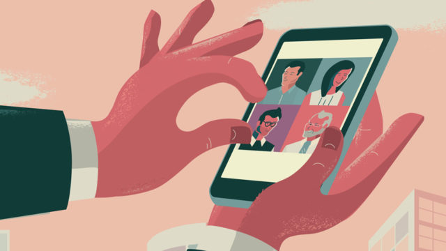 Illustration of a person hand over a smartphone on a Zoom call