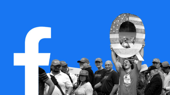 The Facebook logo and QAnon supporters