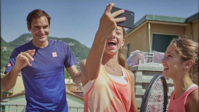 Screenshot from the rooftop tennis video