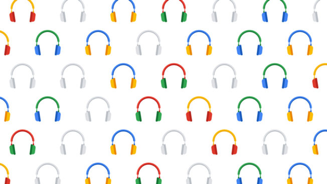 a bunch of colorful headphones