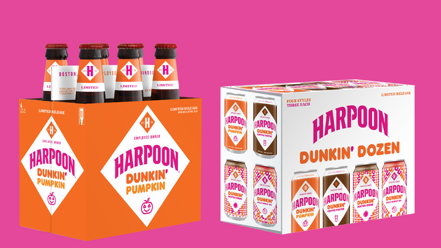 a six pack of beer that says harpoon dunkin' pumpkin on the left and a twelve pack on the right that says harpoon dunkin' dozen