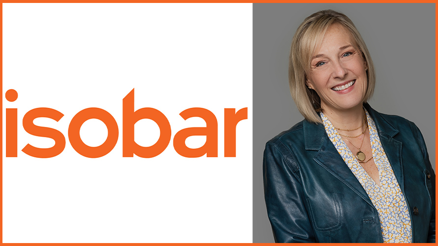 isobar logo on the left and blonde woman on the right