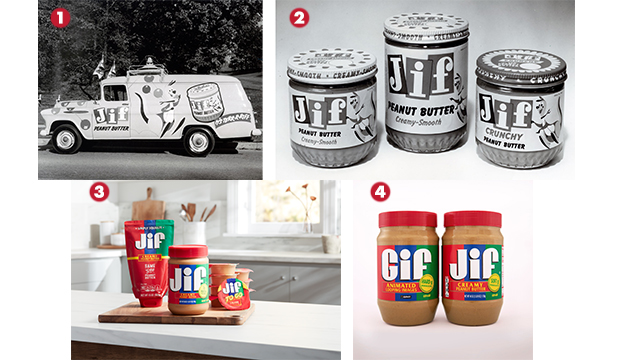 Top left: photo of a jif peanut butter truck; top right: three jif peanut butters in glass jars; bottom left: jif peanut butter in plastic containers and squeezable tubes; bottom right: peanut butter jars that say gif and jif