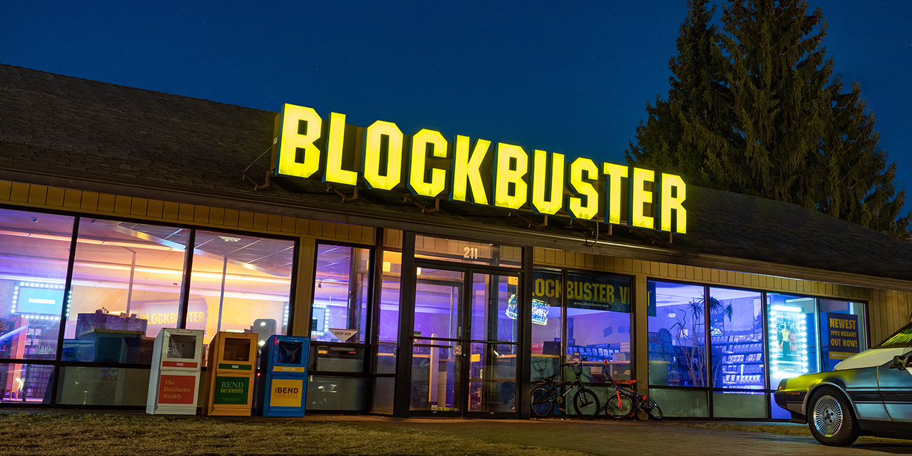 Photo of a Blockbuster store