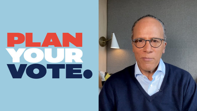 Plan Your Vote logo and Lester Holt