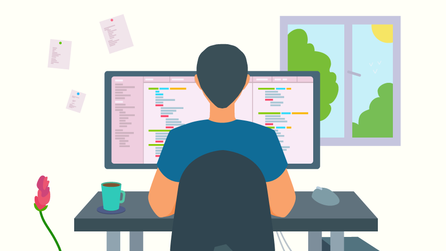 illustration of a man working from home in front of a computer screen