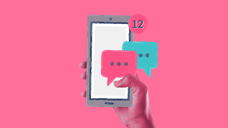 pink background with a person holding a blank cellphone that has blue and pink text boxes coming out