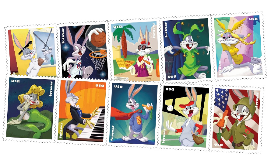 shots of bug bunnys in various costumes on stamps