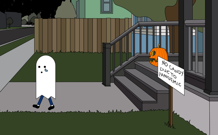 sad trick-or-treat ghost