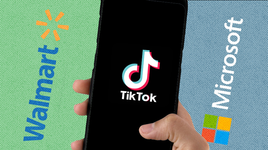 a phone that has tiktok's logo on it and walmart's logo on the left and microsoft's logo on the right