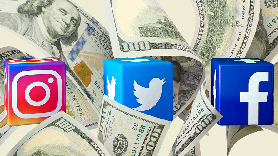 instagram, twitter and facebook logo in a pile of money