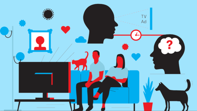 graphic of a couple watching tv with a head and dog floating nearby