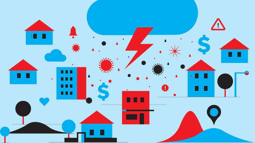 cloud with lightning bolt over houses, buildings and dollar signs