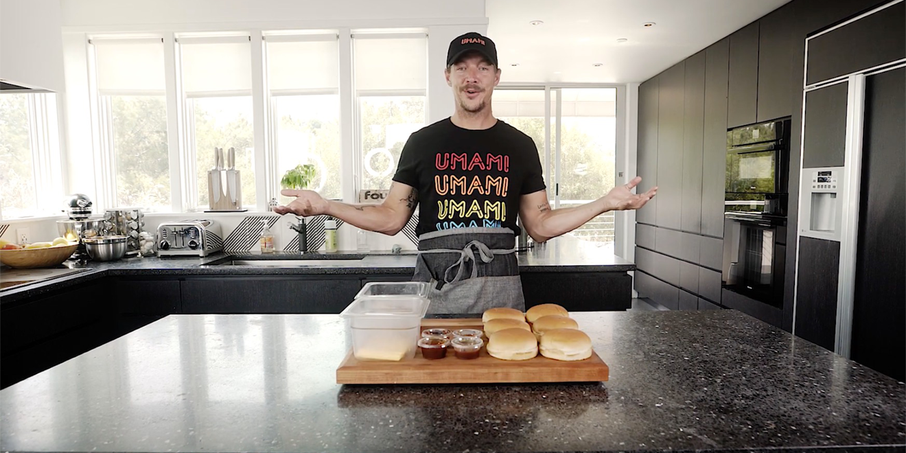 Diplo in a kitchen
