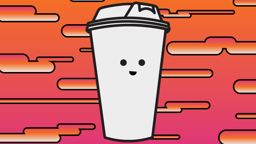 a smiling coffee cup on an orange and pink background