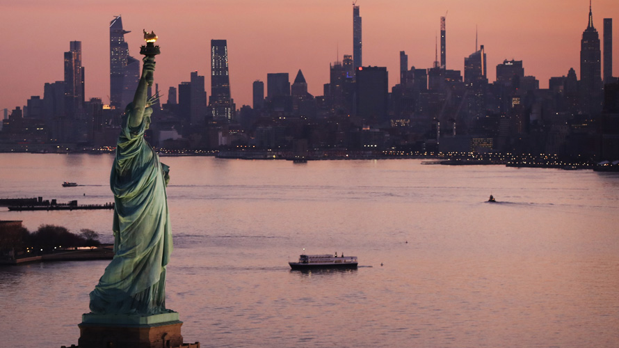 Photo of the Statue of Liberty and New York City