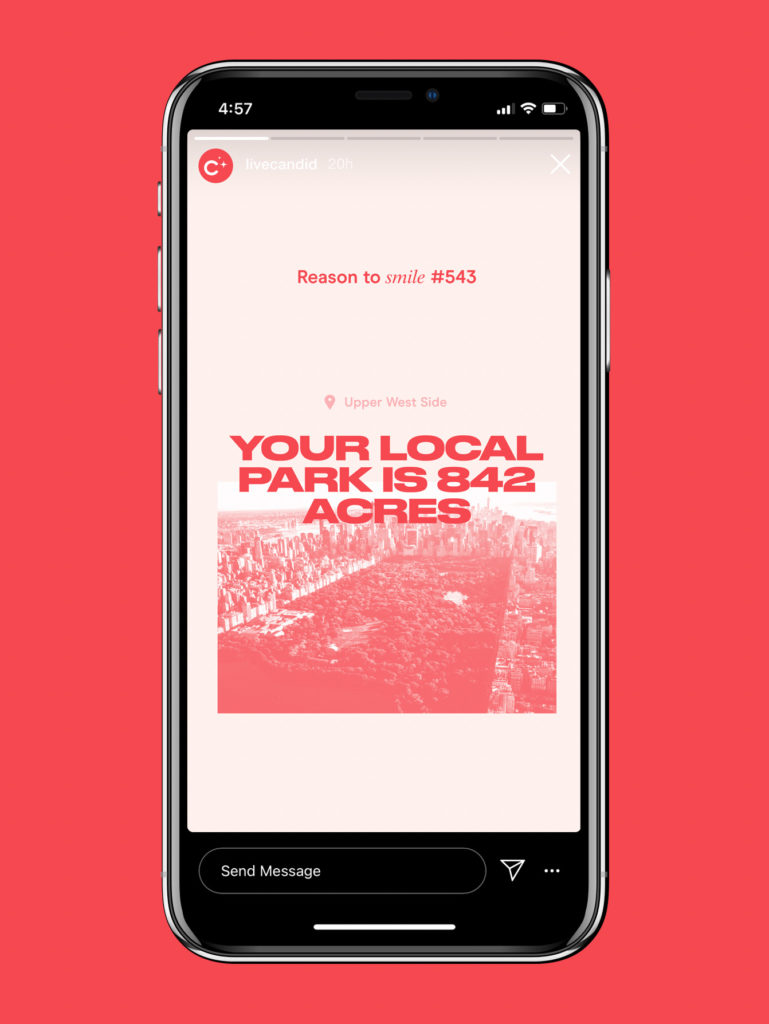 """phone screen that says """"reason to smile #543: your local park is 842 acres."""""""