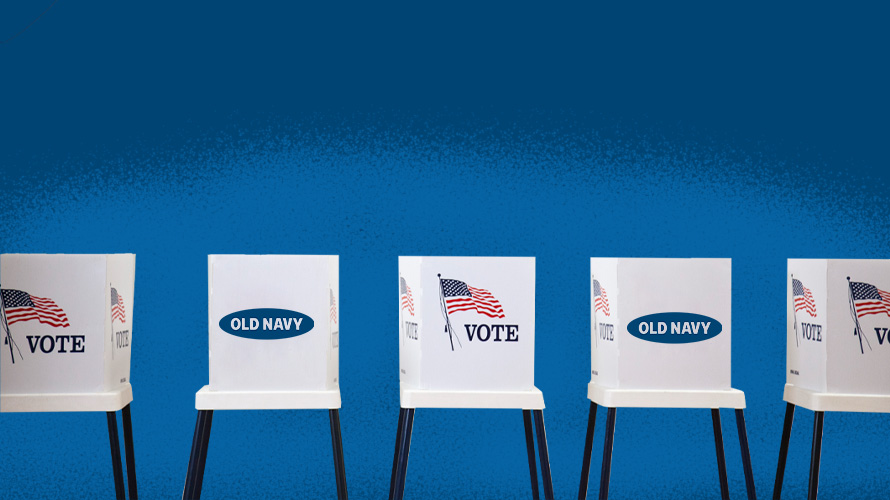Voting polls with the Old Navy logo and American flag