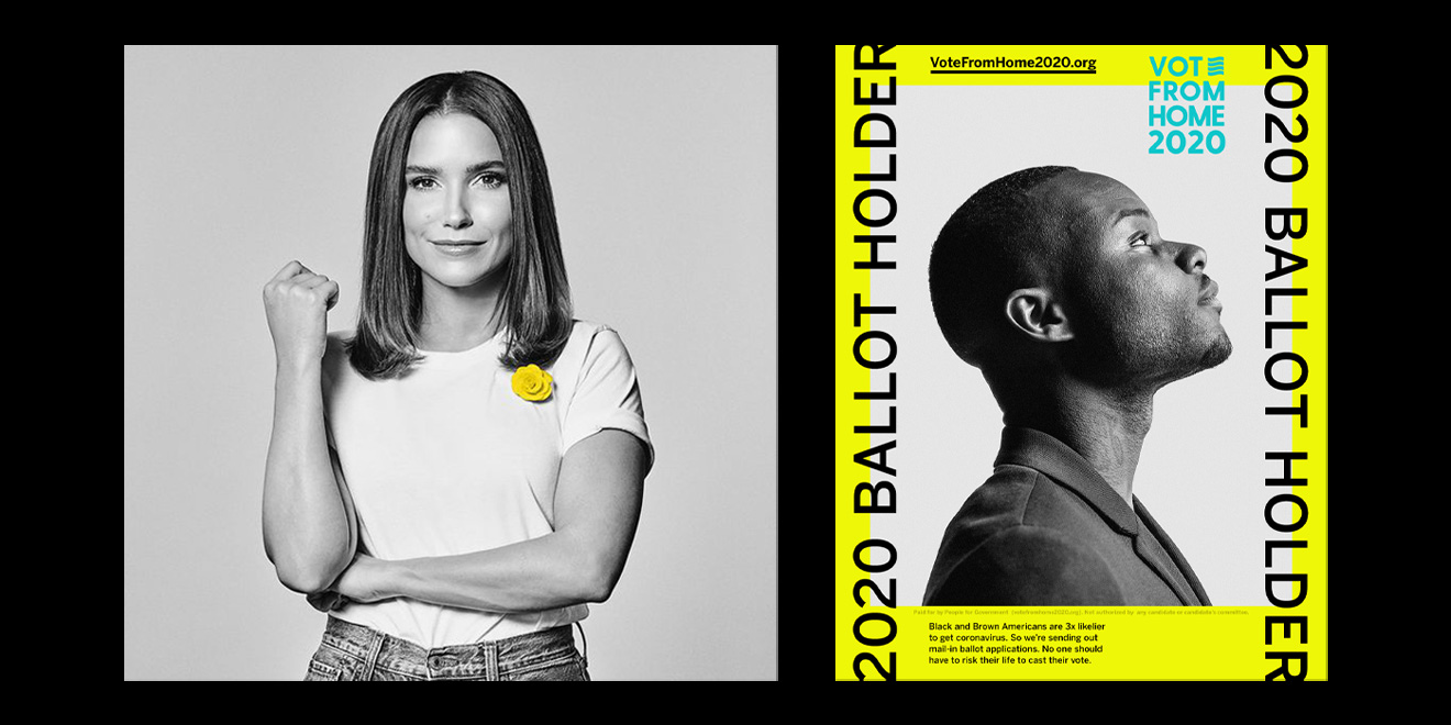 Photo of Sophia Bush and a Vote From Home 2020 promotional image