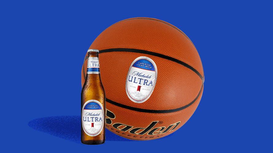 Illustration of a Michelob Ultra bottle next to a basketball