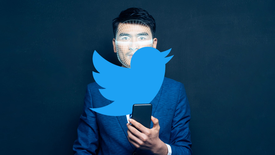 Twitter logo over image of person looking at a smartphone