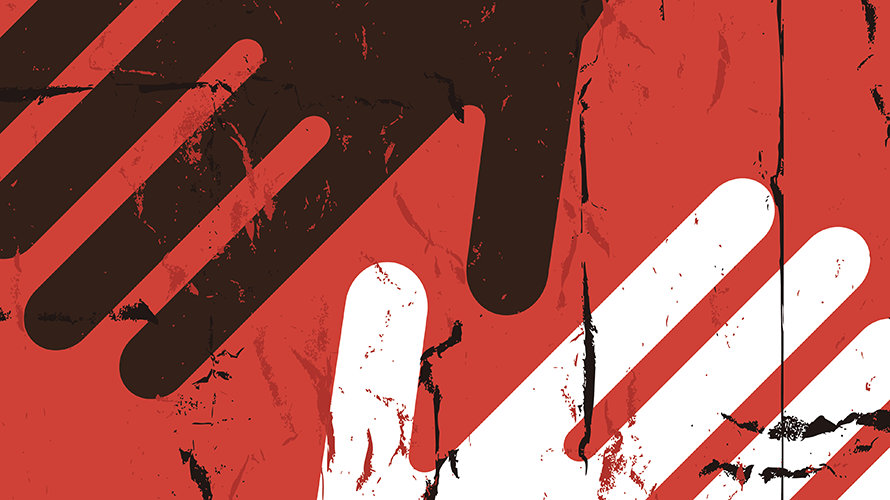 illustration of black hand and white hand on red background